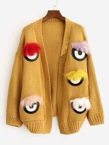 Cartoon Eyes Patches Faux Fur Trim Cardigan SHEIN