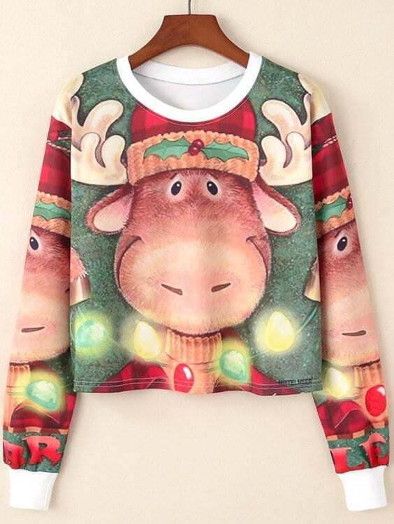 Christmas Pattern Crop Pullover christmas pullover sweater with cartoon ornamentation pattern