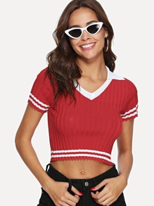 Contrast Trim Ribbed Knit Tee SHEIN