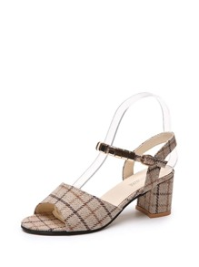 Plaid Block Heeled Sandals