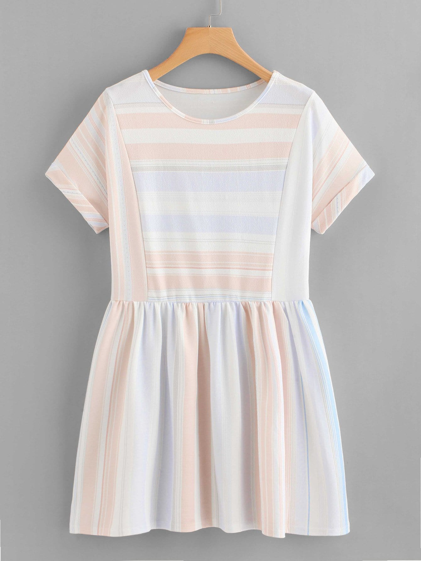 Contrast Striped Rolled Cuff Dress