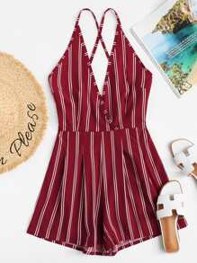Criss Cross Back Striped Romper