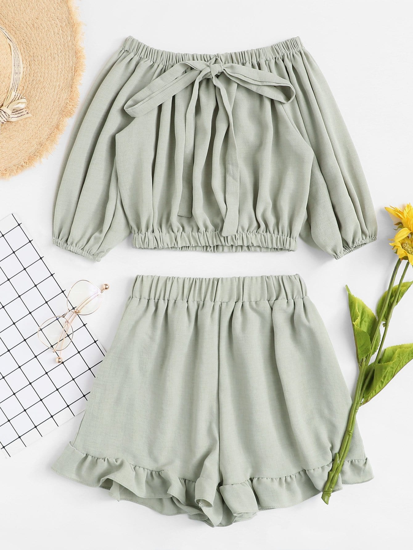 Off Shoulder Tie Front Top With Shorts