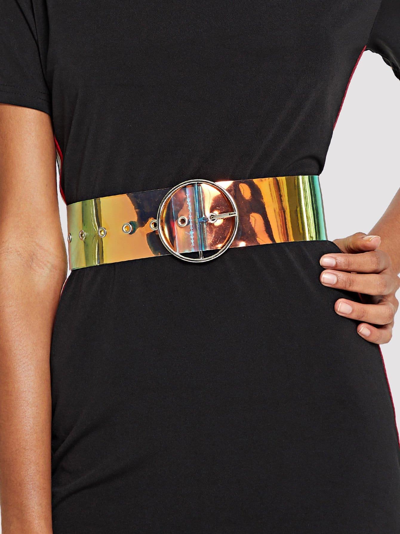 Ring Buckle Iridescent Belt все цены