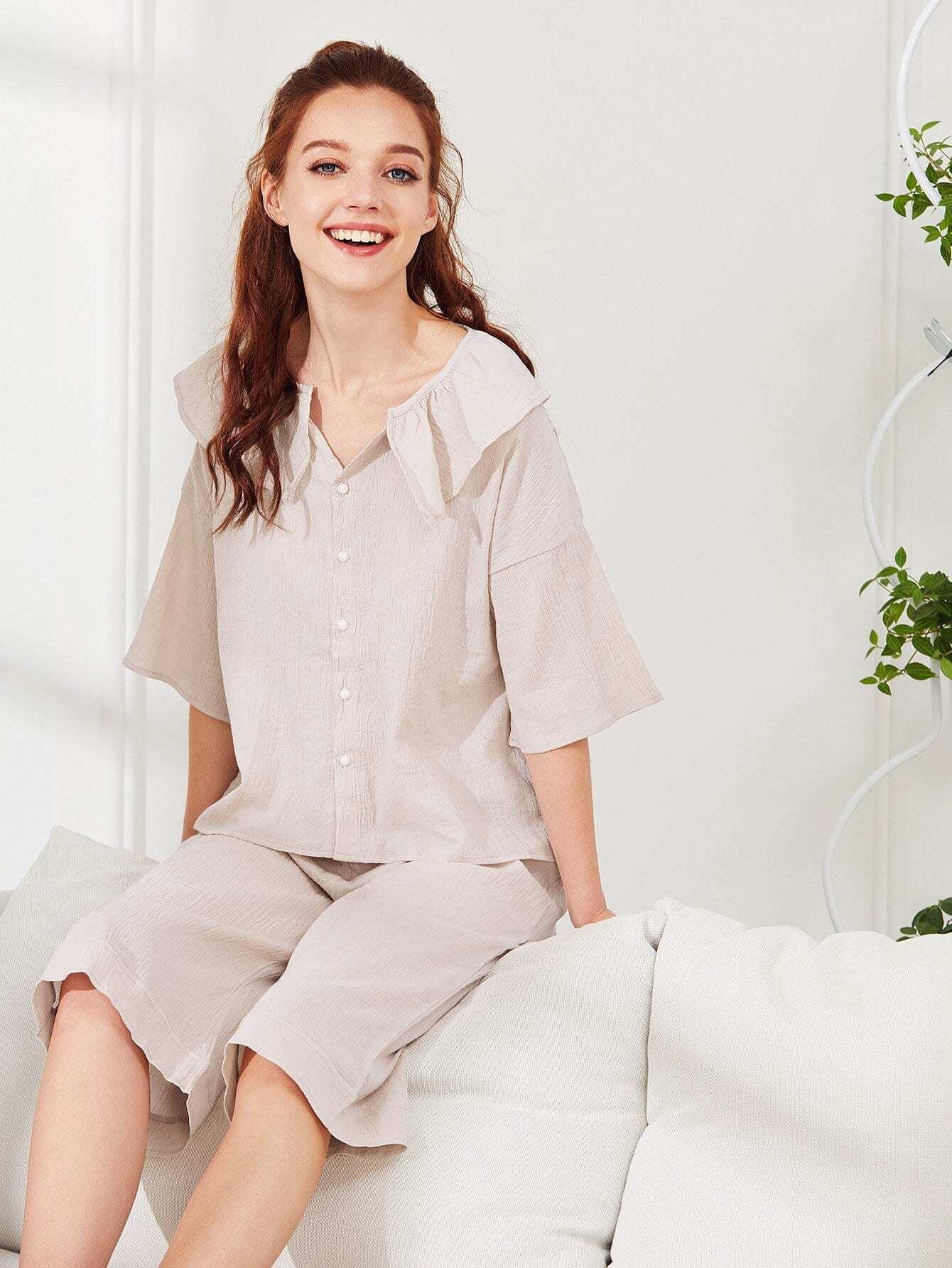 Купить Комплект пижамы с оборками однотонный, Poly, SheIn