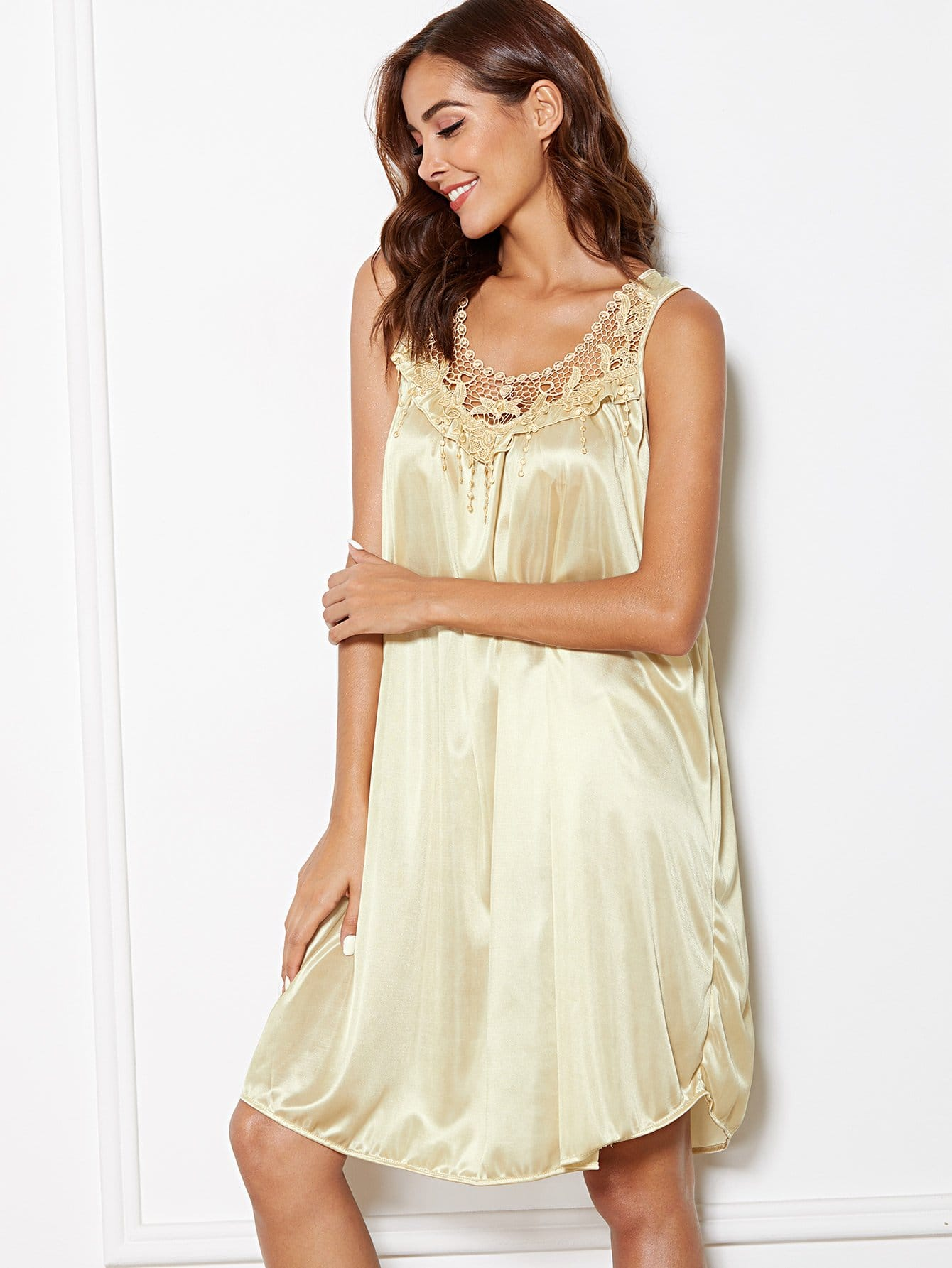 Купить Платье с кружевами вышивка, Giulia, SheIn