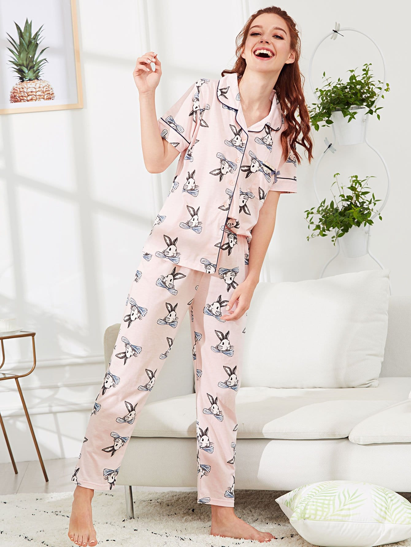 All Over Rabbit Print Pajama Set all over cat print pajama set