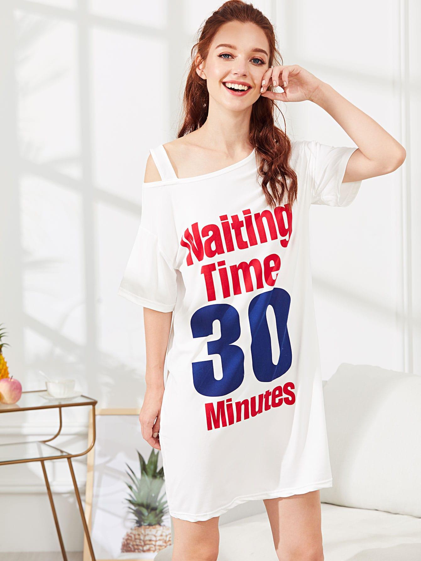 Купить Ночное платье с принтом надпись и цифры, Poly, SheIn