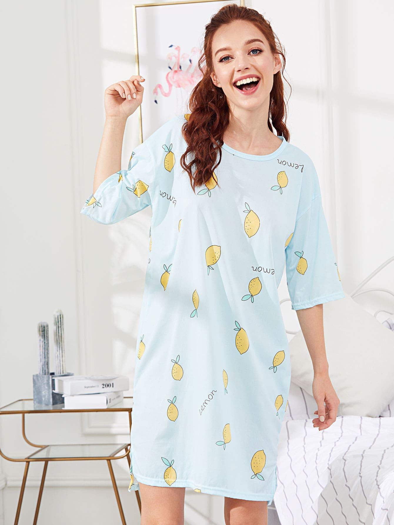 Купить Ночное платье с принтом лемона, Poly, SheIn