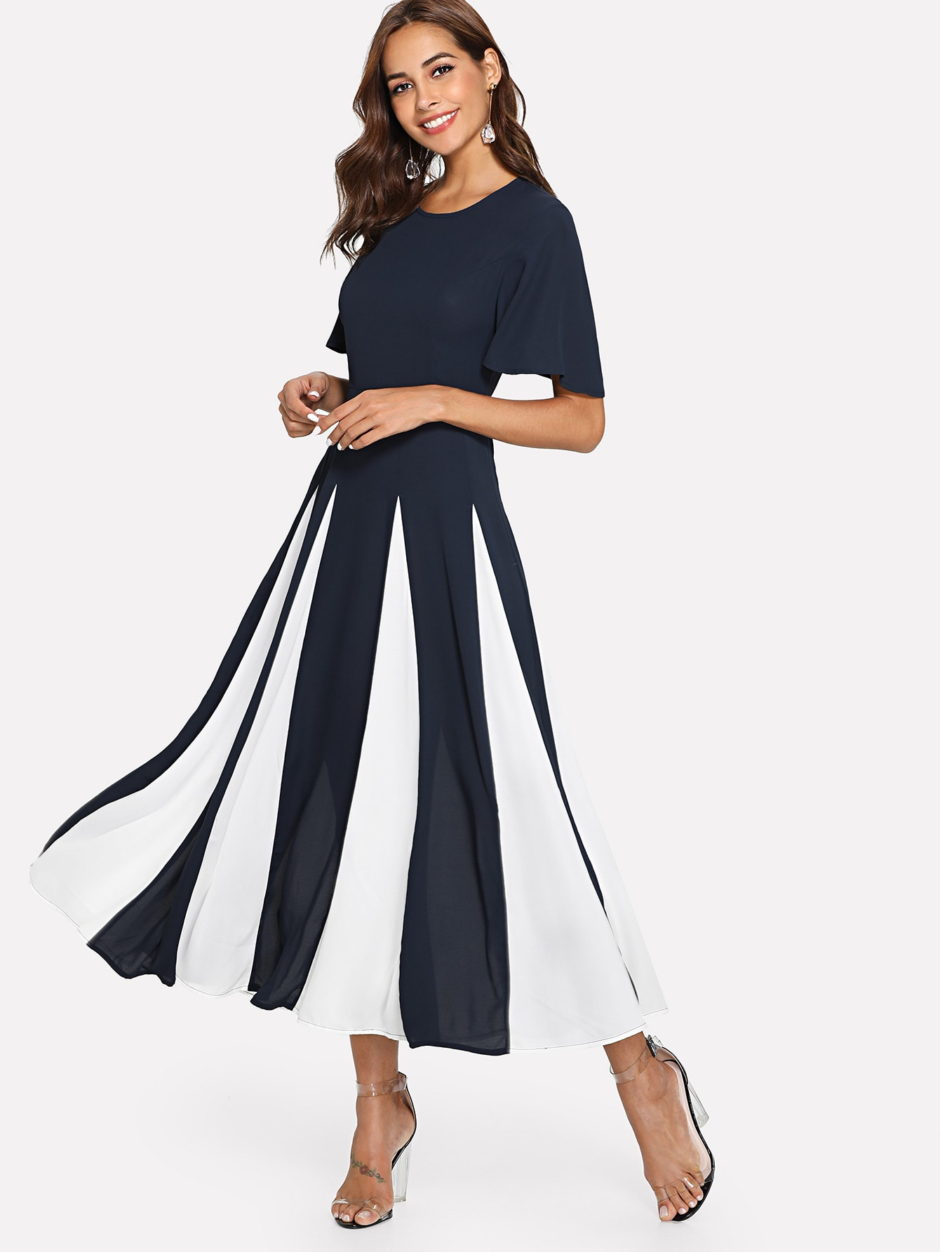 Flutter Sleeve Cut and Sew Dress buttoned closure back cut and sew cap sleeve top