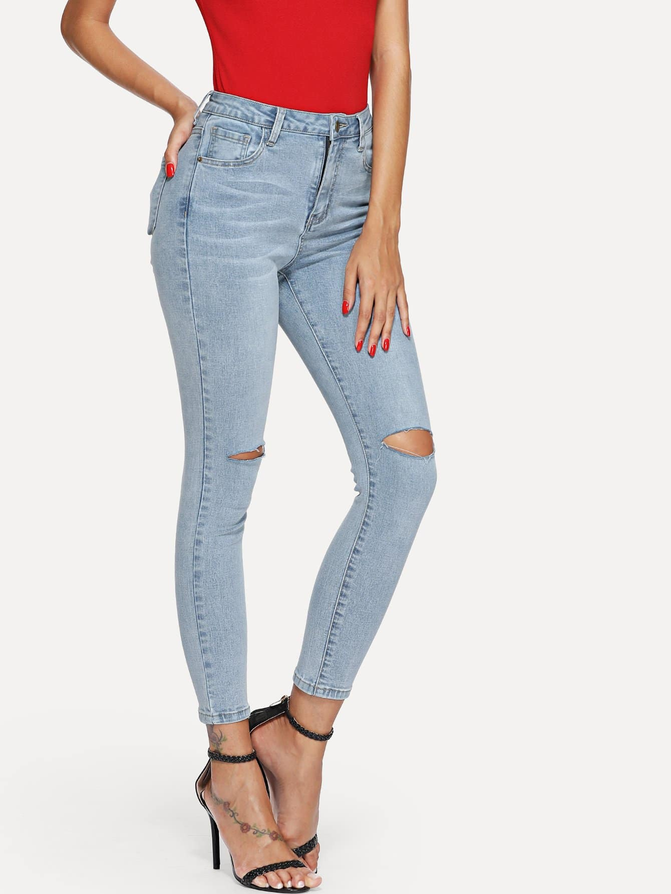 Knee Ripped Skinny Jeans summer boyfriend jeans for women hole ripped white lace flowers denim pants low waist mujer vintage skinny stretch jeans female