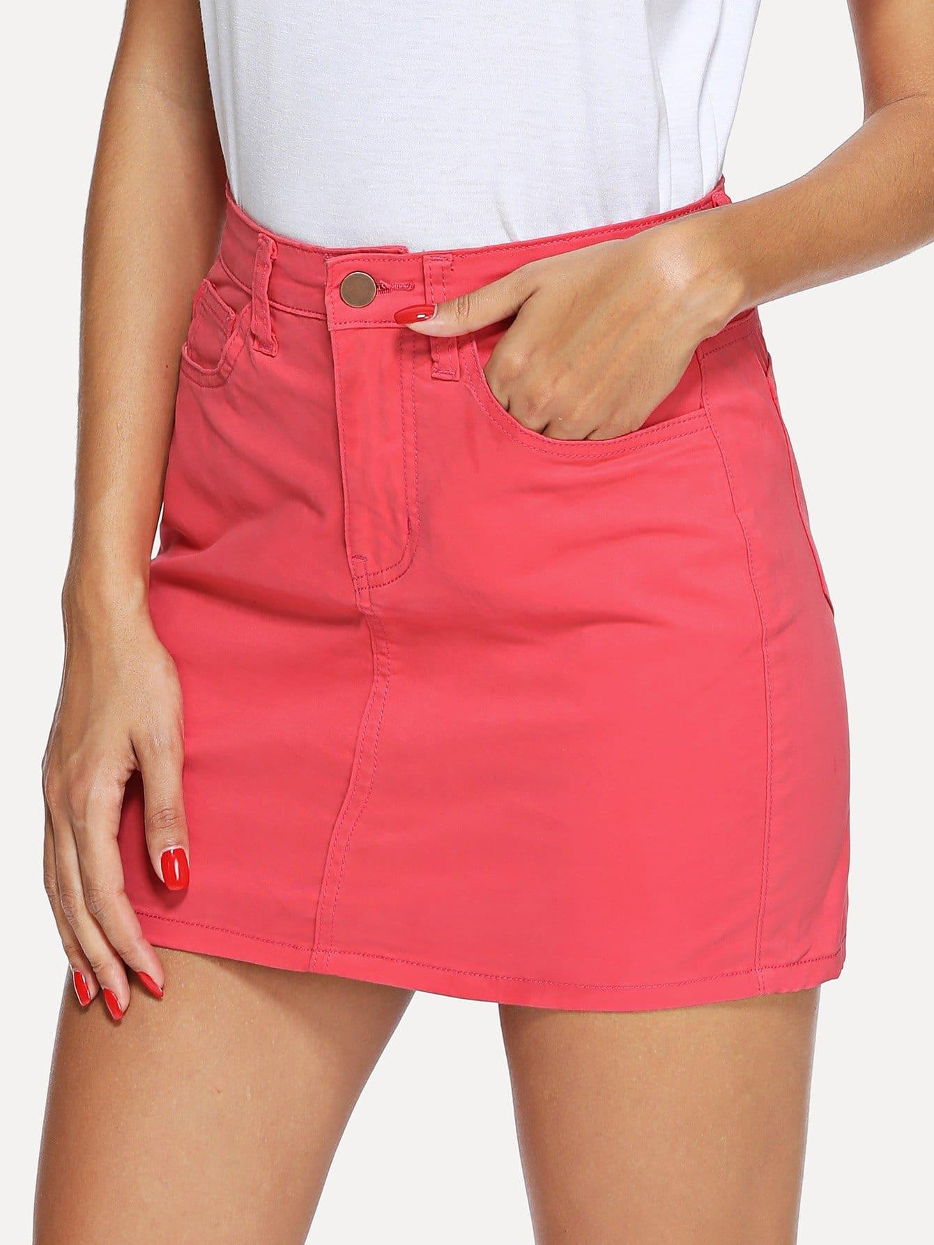 Купить 5 Карманная джинсовая юбка, Giulia, SheIn