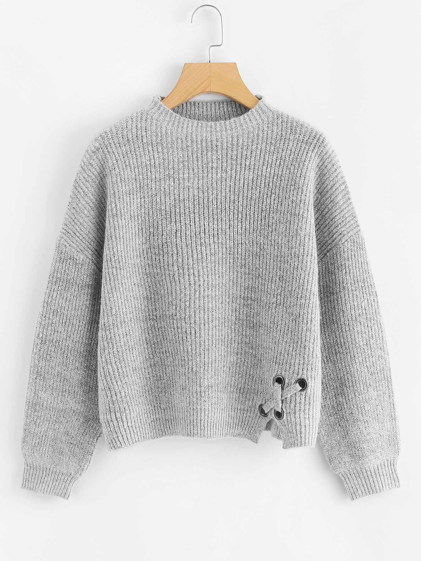 Громмет Крисскросс Деталь Heather Grey Sweater, null, SheIn  - купить со скидкой
