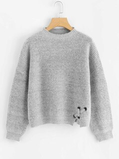Grommet Crisscross Detail Heather Grey Sweater