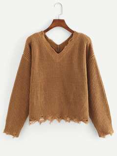 Double V-Neck Ripped Jumper