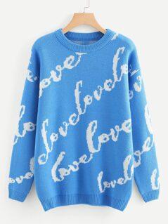 Longline Lettering Sweater