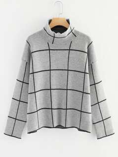 High Neck Grid Jumper
