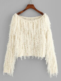 Loose Knit Fuzzy Fringe Sweater