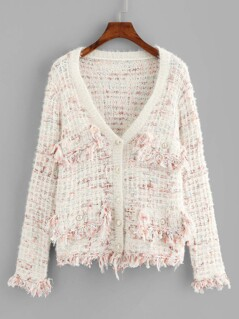Frayed Tweed Knit Button Up Cardigan