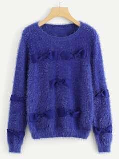 Bow Embellished Fluffy Sweater