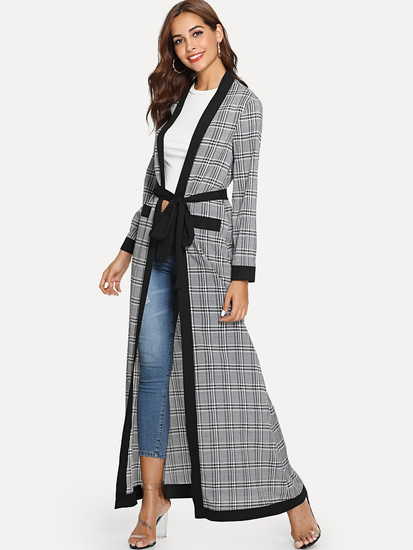 цена Plaid Print Self Belted Abaya