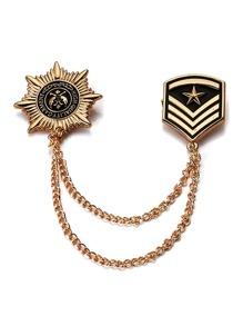 Medal Design Collar Clip Chain Brooch