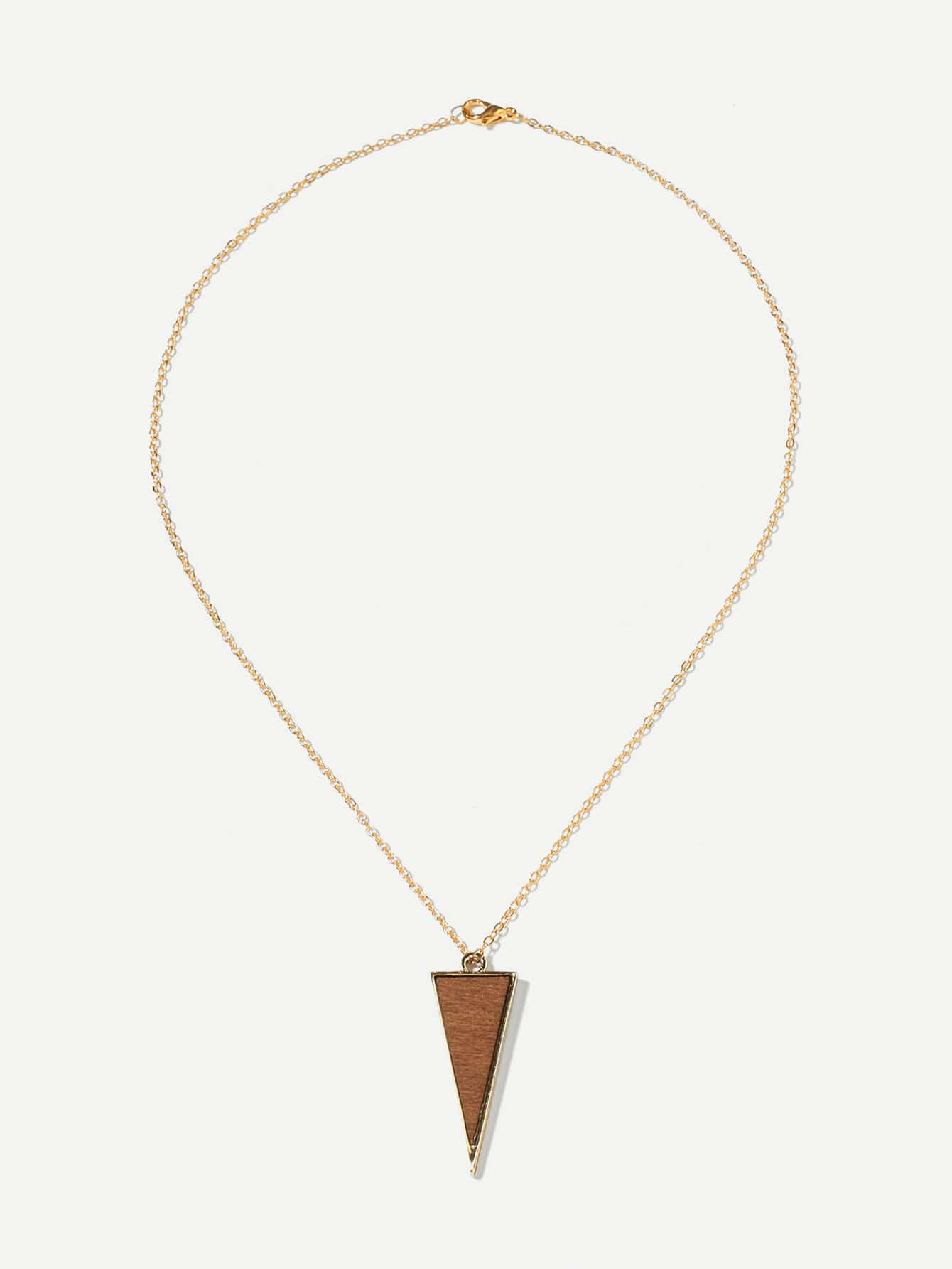 Triangle Pendant Chain Necklace triangle fringed paillette pendant necklace