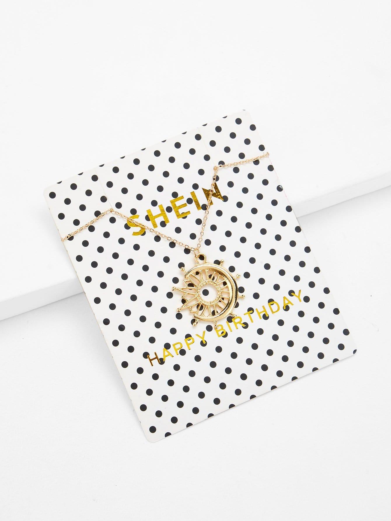 Moon & Sun Design Pendant Necklace цена 2017