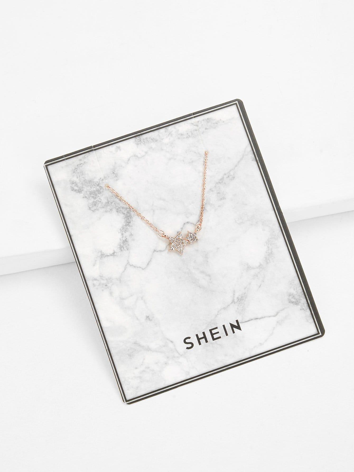 Rhinestone Star Pendant Necklace rhinestone bar pendant necklace