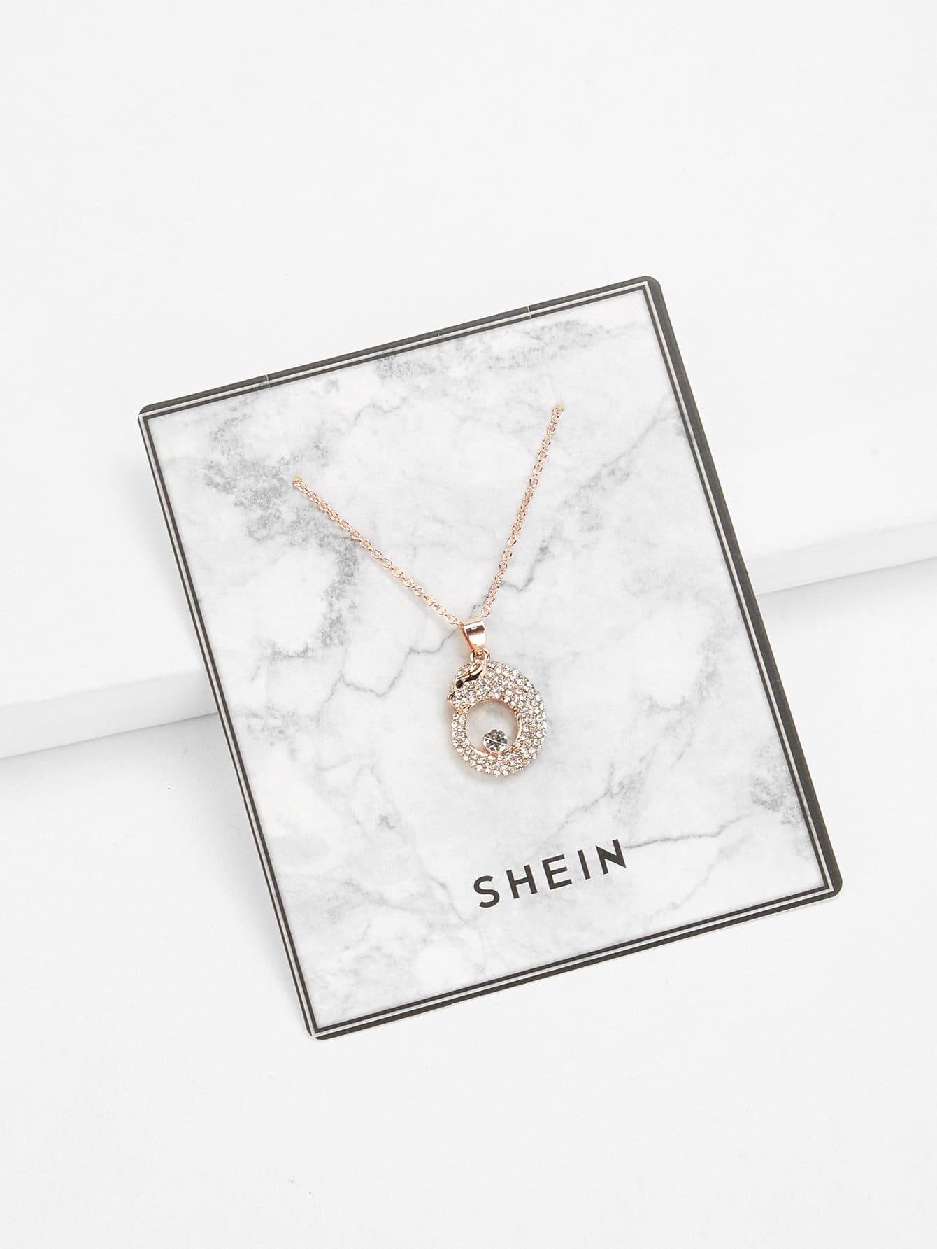 Rhinestone Animal Pendant Necklace rhinestone bar pendant necklace
