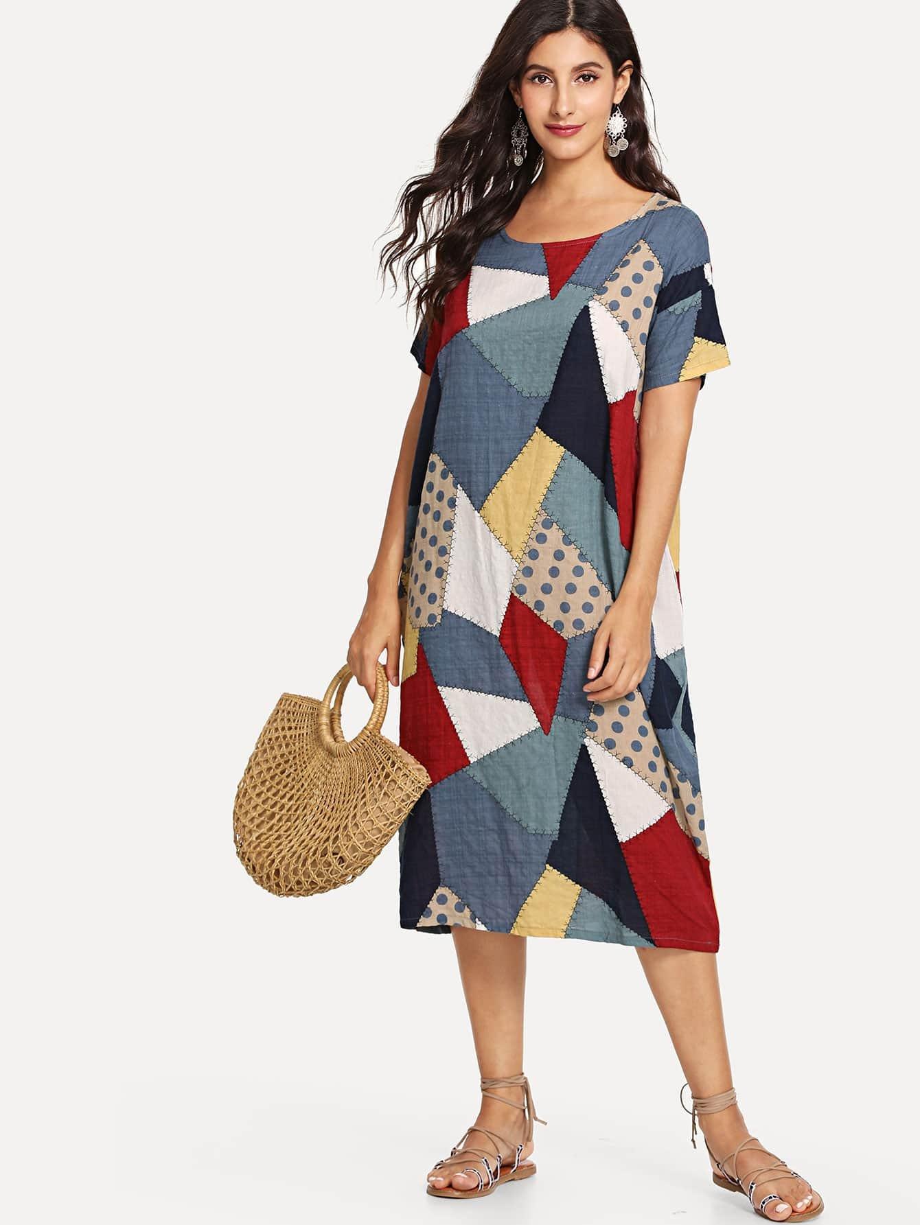 Patchwork Hidden Pocket Dress hidden pocket striped dress