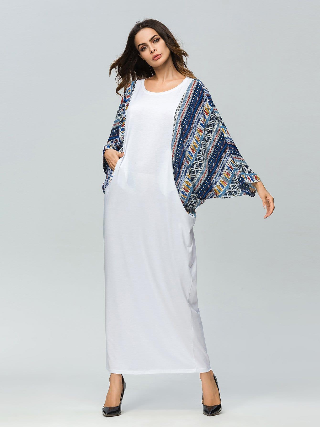 Geometrical Print Batwing Sleeve Longline Dress landscape print longline dress