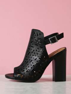 Perforated Peep Toe Chunky Mule Heel
