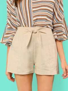 Bow Front Elastic Waist Shorts