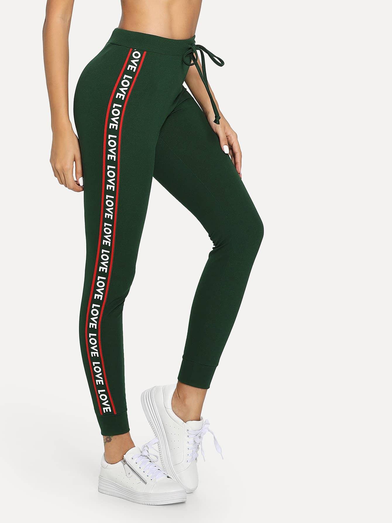 Lettering Tape Side Skinny Sweatpants lettering tape side skinny leggings