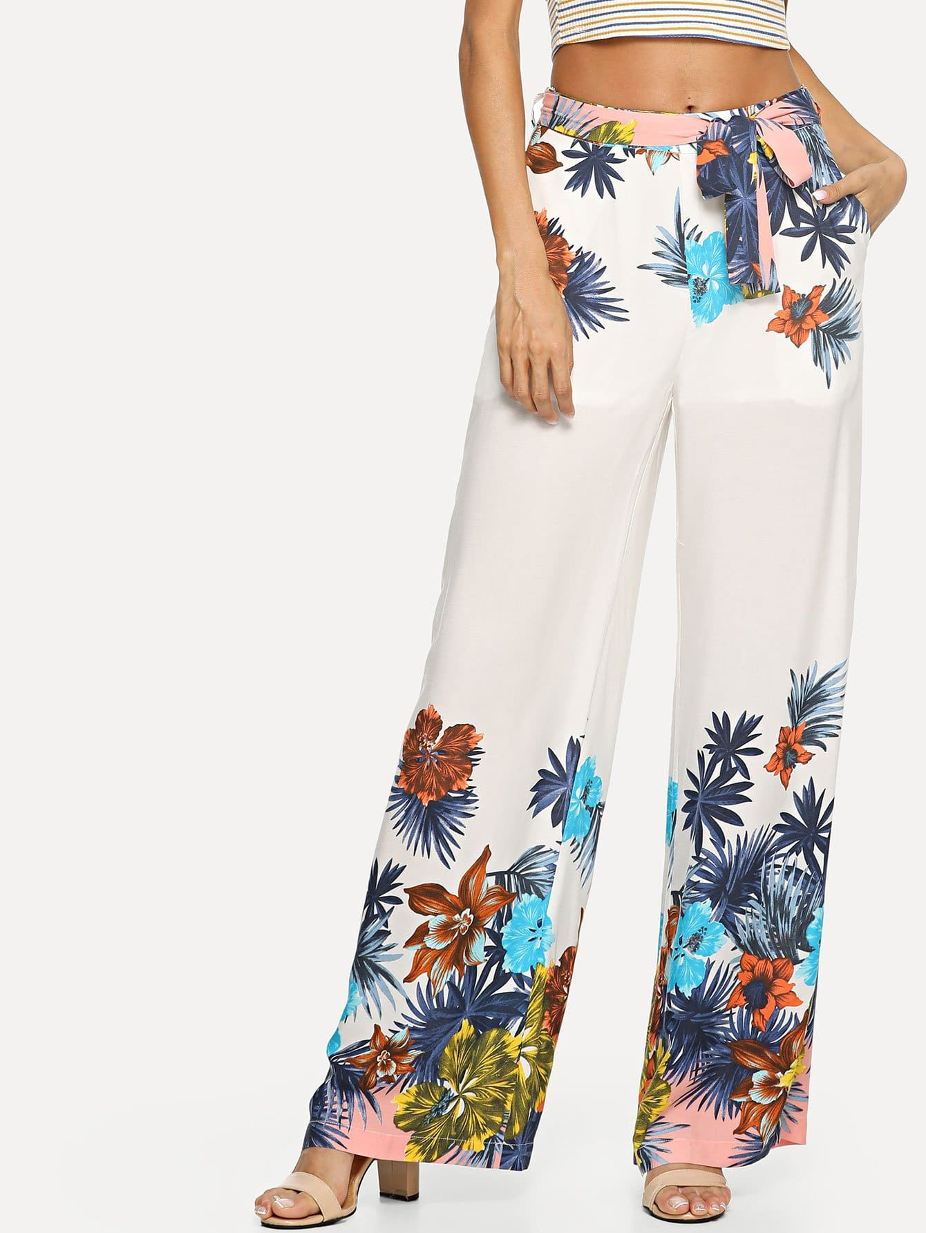 Belted Waist Pocket Side Tropical Wide Leg Pants pocket side elastic waist pants