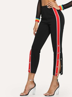 Buttoned Striped Side Crop Pants