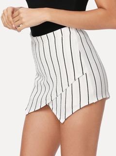 Wrap Front Pinstripe Shorts