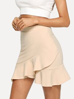 Ruffle Wrap Hem Bodycon Skirt