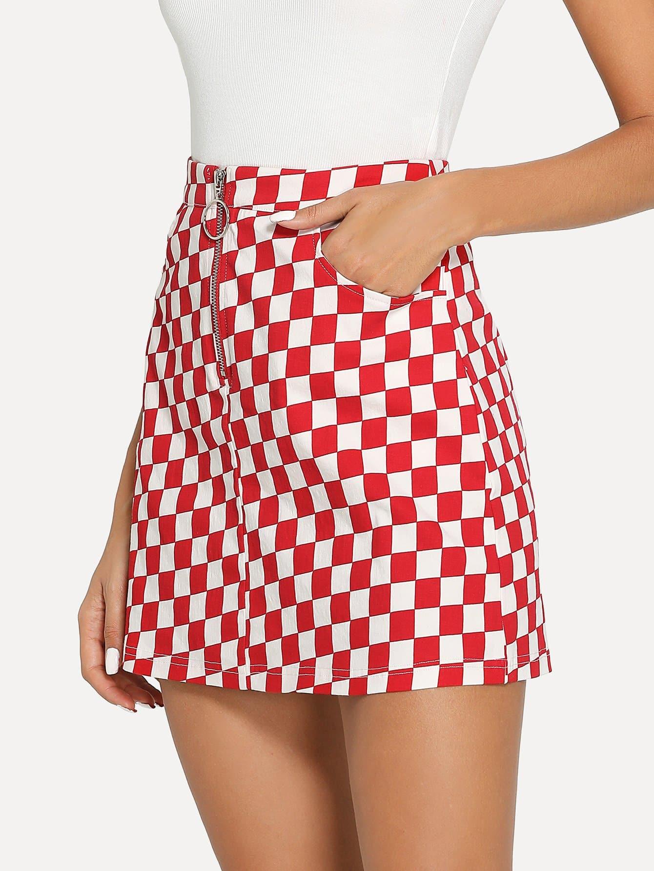Купить O-Ring Zipper Передняя проверенная юбка, Giulia, SheIn