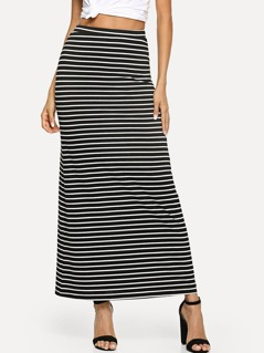 Striped Column Skirt