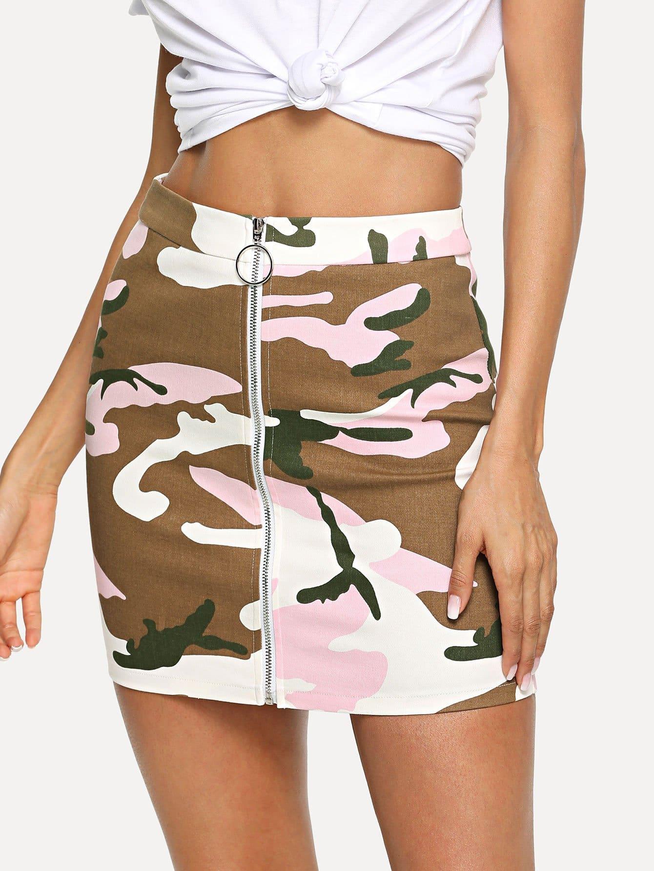 Купить Zip Front Camouflage Print Bodycon Юбка, Andy, SheIn