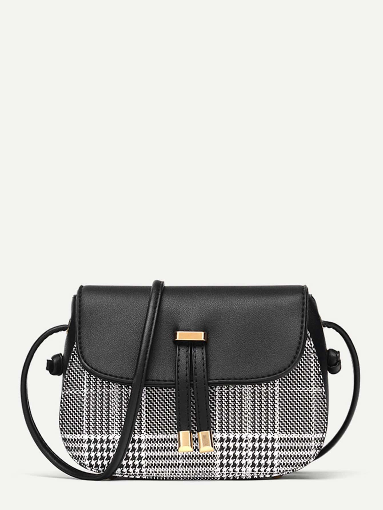 Plaid Detail Flap PU Crossbody Bag