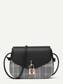 Twist Lock Detail Plaid Shoulder Bag