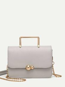 Stitch Trim Chain Bag With Metal Handle