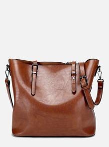Buckle Decor Shoulder Bag