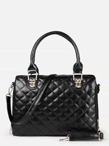 Quilted Detail Double Handle Shoulder Bag