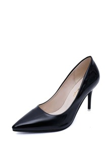 Pointed Toe PU Stiletto Heels