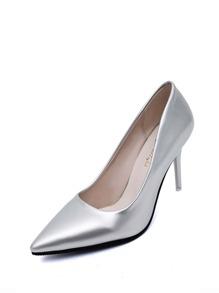 Metallic Pointed Toe PU Stiletto Heels