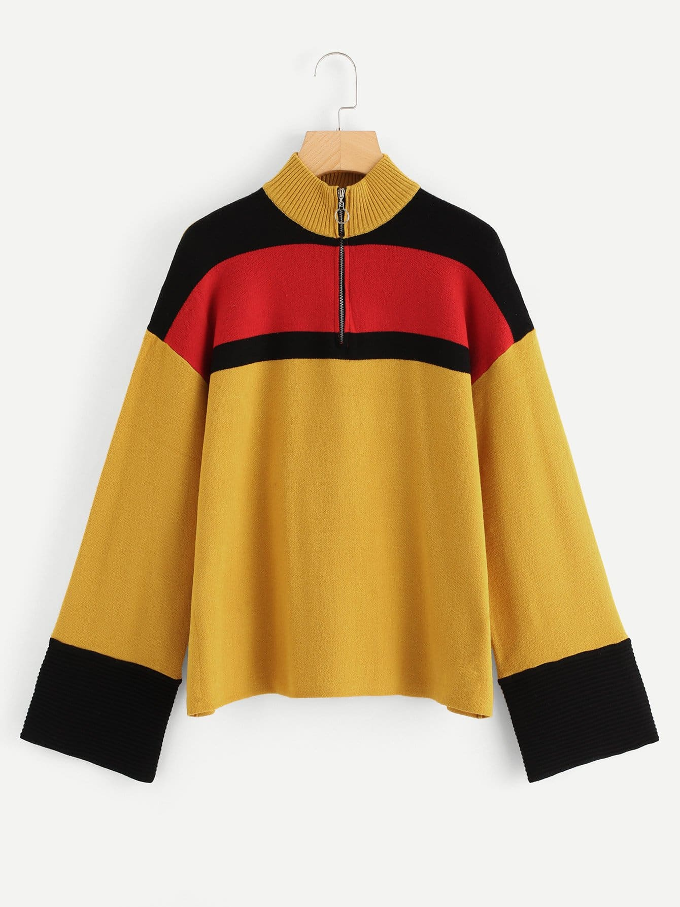 Купить O-Ring Zip Up Color Block Sweater, null, SheIn